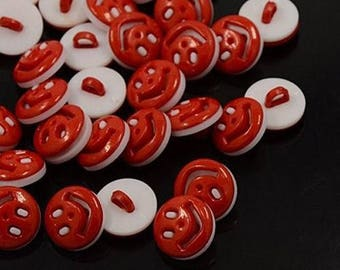 LOT 10 buttons rouge17mm smile face