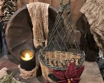 Primitive Old Basket Poinsettia Cottage Chic Antique Peg Hanger Christmas Winter  Shabby