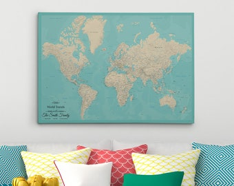 Personalized travel pin maps to track lifes by pushpintravelmaps gallery wrapped personalized canvas map teal dream world map with pins 24x36 gumiabroncs Choice Image