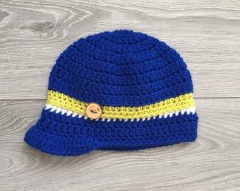 Ready to Ship - Crochet Hat with Brim - Newborn Size