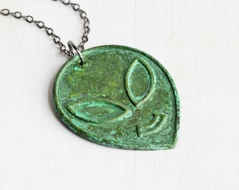 Green Alien Necklace, Aged Patina Pendant on Gunmetal Black Chain, Martian Necklace, Sci Fi Jewelry