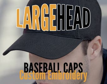 Large Size Head Custom Embroidery on an Oversize Adjustable Structured Full Fit Classic Black or Navy Baseball Cap + Personalization Options