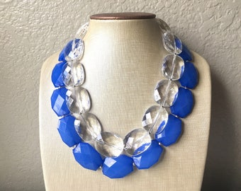 Blue & Clear Necklace, multi strand jewelry, big beaded chunky statement necklace, royal blue necklace, bridesmaid necklace, bib necklace