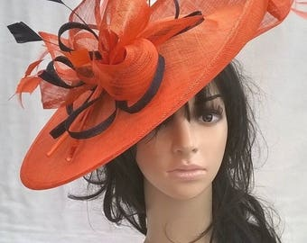 Sophia..Orange & navy Hatinator..Stunning  Sinamay Fascinator Hat on a Headband..Hatinator