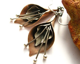 Calla Lily Earrings, Mixed Metal Earrings, Flower Jewelry, Sterling Silver And Copper Earrings, Artisan Metalsmith Jewelry, Copper Jewelry