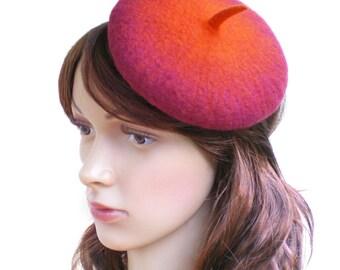 Petit chapeau rétro pour fête, soirée, mariage, bibi béret orange en laine feutrée