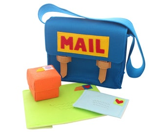 Play Mail Set, Mail Man Play Set Costume, Large Mail Bag with Working Envelopes and Box, Imaginative Play Toy, Kids Gift