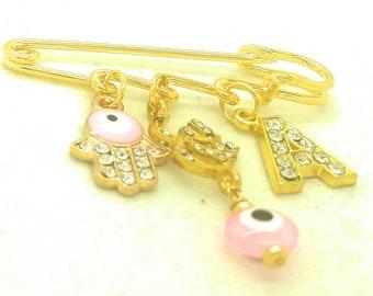 Om ohm safety pin, ohm Hindu pin, evil eye pin, Hindu baby gift, ohm jewelry, hamsa pin
