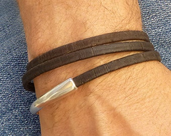 Vegan Leather Mens Bracelet, Portuguese Cork Leather Wrap Bracelet, Brown Cuff Bracelet, Magnetic Clasp Bracelet, Vegan Jewelry Gift for Him