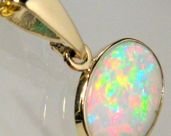 2.9ct 14k Gold Australian Solid White Pink Opal Pendant Jewel Necklace Gift #739