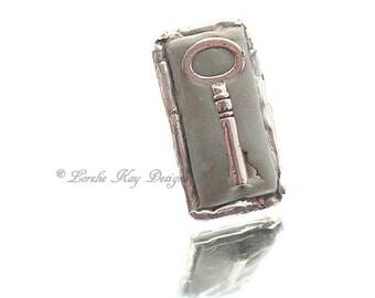 Antique Skeleton Key  Ring Soldered Clay Key Ring Wide Band Industrial Look Lorelie Kay Original