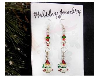 Snowman earrings - Holiday Fun Beaded earrings - Christmas Jewelry - Christmas  earrings - Christmas party Earrings,-  # J 30