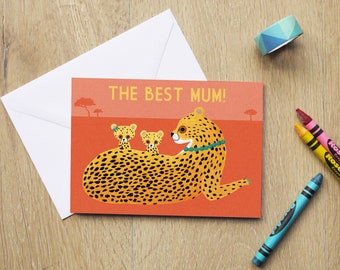 The Best Mum Cheetah Mother's Day Illustration 4x6 Greeting Card