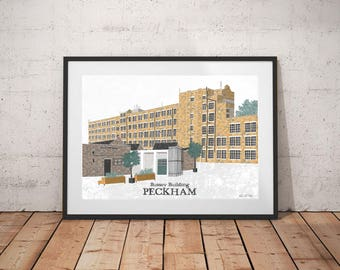 Bussey Building Peckham Art Print / Peckham Landmark / Peckham Art Print / London Art Print / Architecture Print / London Landmark