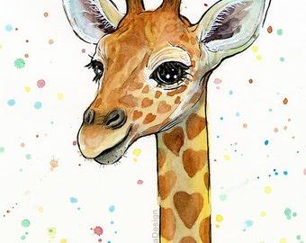Baby Giraffe Watercolor Art Print Heart-Shaped Sports Giraffe Nursery Print Baby Animal Art, Baby Art Whimsical Animal Print