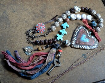 Bohemian Tassel necklace, Rustic Artisan Necklace, Assemblage Heart Necklace, Shabby boho Necklace, Earthy Gypsy Necklace, Bohemian Jewelry