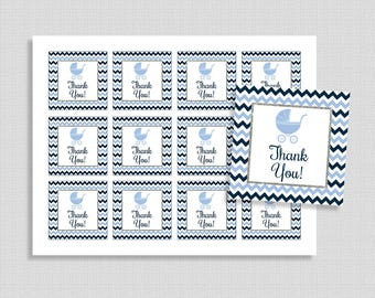 Blue Chevron Favor Tags, Navy Blue Chevron Silver Glitter Shower Party Favor Tags, Baby Shower Favor Tags, INSTANT PRINTABLE