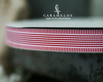 """Red and White Stripe with a Stripe Border Grosgrain Ribbon 7/8"""""""
