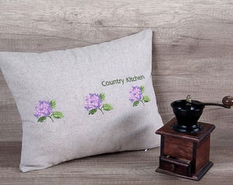 Pink hydrangea flower embroidery modern pillow, kitchen bench pillow,  grey linen cushion cover 12*16 inch  (31*39 cm) ~ farmhouse chic