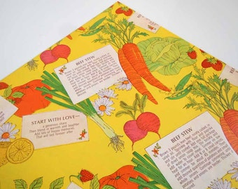 Vintage 1975 Any All Occasion Wrapping Paper Yellow Kitchen Gift Wrap Beef Stew Recipe