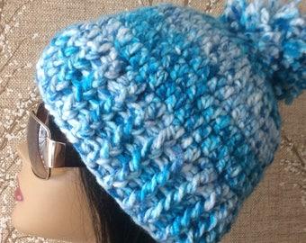 Blue Crochet Hat, Beige Chunky Beanie with Pom, blue, White Winter Beanie With Puff, Beige Pom Pom Hat, Warm blue Ski Cap, Chunky