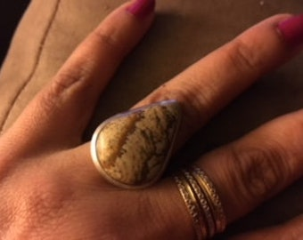 sterling silver jasper stone  ring
