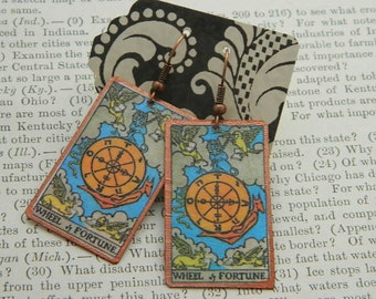 Tarot earrings Wheel of Fortune tarot jewelry mixed media jewelry