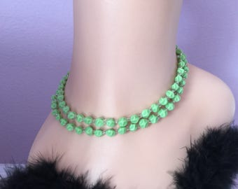 Green Glass beaded Necklace,  art glass green necklace double stranded necklace formal necklace 20s/30s