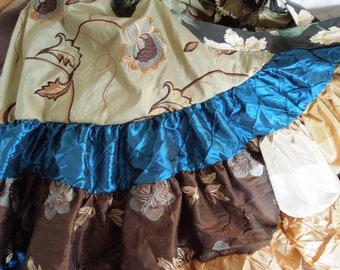 "Patchwork Ruffle Wrap Skirt ""Sparkling River"" Knee-Calf Length"