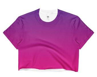 Purple and Pink Gradient Ladies Crop Top