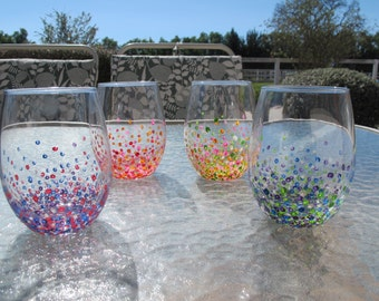 Hand Painted Colorful Dotted Wine Glasses - Set Of 4 Stemless Wine Tumblers