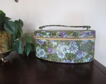 Vintage Makeup Case/ Travel Makeup Storage/ Floral Makeup Case/ Floral Jewelry Case