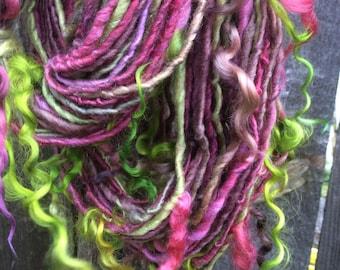 HANDSPUN Yarn Polwarth Wool Silk Thick and Thin Yarn with Locks
