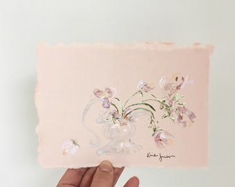 Shimmering abstract floral arrangement tulips watercolor painting