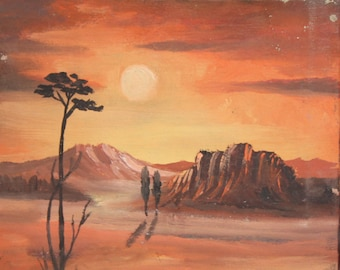 Vintage oil painting desert landscape