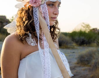 woodland wedding - boho headband - boho wedding - beach wedding - lace headband - wedding headband - feather headband - lace headpiece