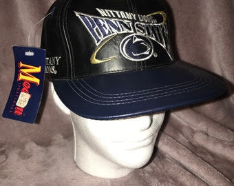 Vintage Deadstock 90's Penn State Nittany Lions PSU NCAA Black Leather NFL Strapback Hat Cap