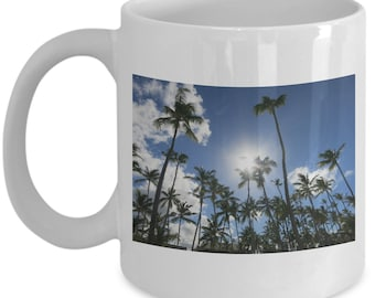 Palm Trees Blue Sky Clouds Novelty Coffee Mug Great Gift  for Her Him