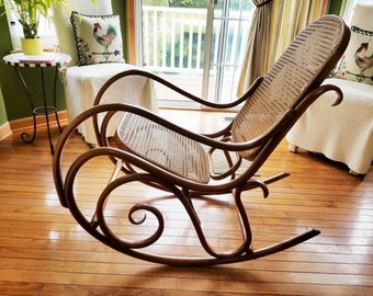 1970's Vintage Original Thonet Bentwood Rocking Chair in Cognac - Local Pickup Only