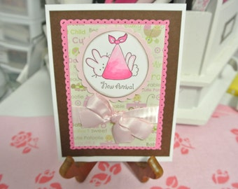 New arrival baby girl greeting card