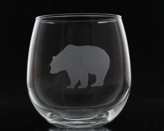 Etched Bear Wine Glass - Bear Wine Glass - Stemless Wine Glass - Bear Glass - Rustic Home Decor - Bear Glassware