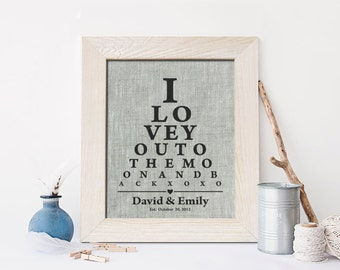 4th Wedding Anniversary print on Linen , 4 Years Together, fourth anniversary, I love you to the moon and back xo xo