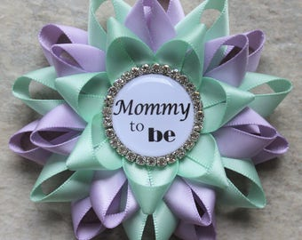 Gender Neutral Baby Shower Decorations, Mommy to Be Gift, Pregnancy Reveal Pin, Lavender, Mint Baby Shower Pins