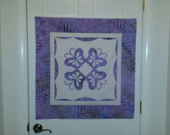 Quilt Top, Pre Designed Wall Hanging Top, Butterflies Appliqué Wall Hanging, Scalloped Edge, Arrives Ready to Quilt.