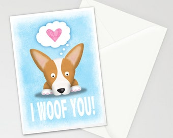 Corgi Valentines Day Card -  Corgi Love Card -  Corgi Card -  Funny Corgi - I Woof You -  Valentine's Day Gift
