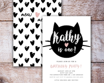 Cat Birthday Invitation, Printable, Black Cat Party Theme, Cat Theme, pink heart, Halloween Party, Meow Kitty Cat Printable