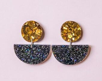 EARRINGS | Galaxy Half Moon : Mid And Fancy Hello Miss May Drop Earrings