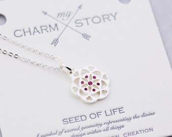 Seed Of Life | Illustrated Faith | Wish Necklace | Friendship Necklace | Botanical Jewelry | Pendant | Statement Necklace | Nature Jewelry|S