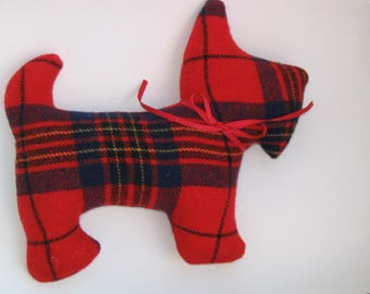 Red Tartan Plaid Stuffed Scottie Dog, Primitive Red Navy Black Yellow Upcycled Fabric Scotty, Scottish Terrier Stocking Stuffer