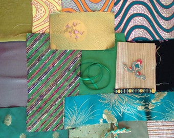 Embellishment Kit- Fabric, Trim- 20 Pieces in Green- Crazy Quilt, Inspiration, Scrapbook